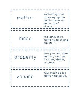 Matter Vocabulary Flash Cards