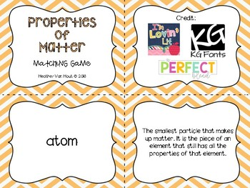 Matter Vocabulary Matching Game