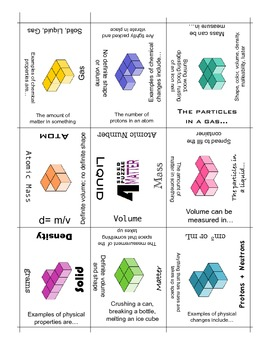 Matter Vocabulary Puzzle, 4 Sided Review Puzzle {NEW}