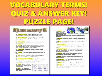 Matter Vocabulary Quiz (Study Guide and Puzzle Page)