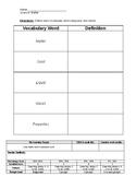 Matter Vocabulary - Solids, Liquids, Gas, Properties