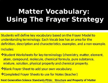Matter Vocabulary:  Using The Frayer Strategy Chemistry-Physical Science