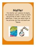 Matter Vocabulary Words