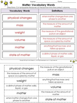 Matter: Vocabulary Words Cut and Paste Activity - King Virtue's Classroom