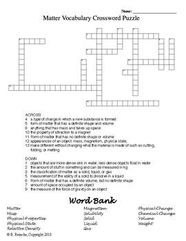 Matter Vocabulary Crossword Puzzle