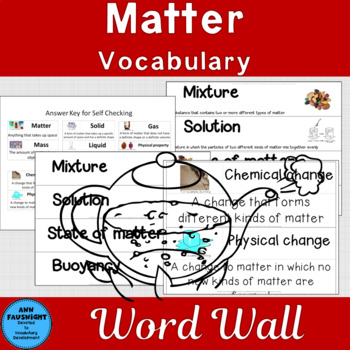 Matter Word Wall Words and Activities