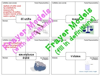 Matter Word Wall and Student Matching & Frayer Models (71 words & illustrations)