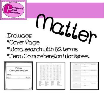 Matter: Word search & Term Comprehension Bundle