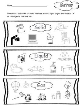 Matter Worksheet