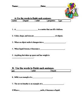 Matter Worksheet For Kids!