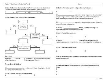 Matter Worksheet (L3, Part 1)