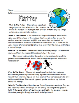 Matter Worsheets