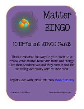Matter and Atoms BINGO