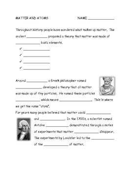 Matter and Atoms Notes and Worksheet