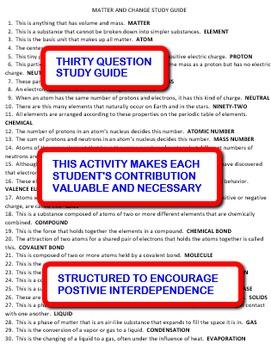 Matter and Change: Interdependent Crossword Puzzles Activity