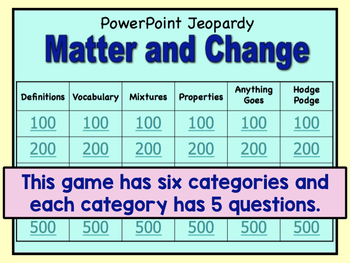 Matter Jeopardy Review