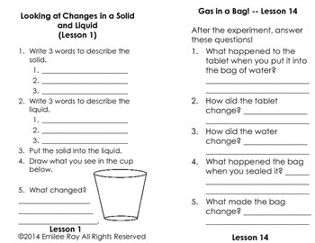 Matter and Changes Journal and Lessons!
