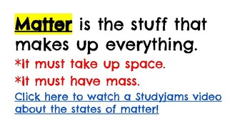 Matter and Changes Vocabulary Presentation