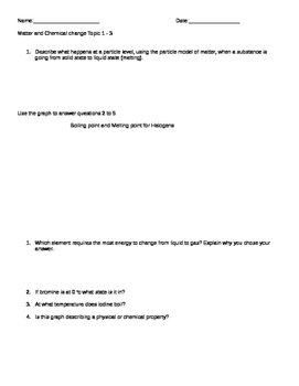 Matter and Chemical change mid-unit test