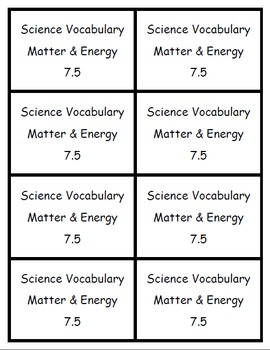 Matter and Energy 7.5 - Memory Game