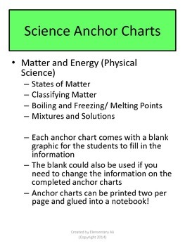 Matter and Energy Anchor Charts with Student Pages (STAAR)