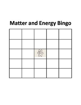Matter and Energy Bingo