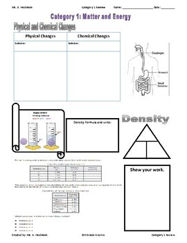Matter and Energy Doodle Review with Graphic Organizers by ...