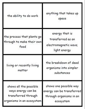 Matter and Energy Flashcards - TEK 7.5