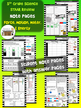 Matter and Energy + Force, Motion, and Energy Review Activity Pages (TEKS)
