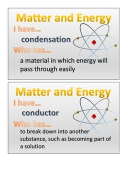 Matter and Energy:  I Have Who Has 5.P.2 5.P.2.1 5.P.2.2 5.P.2.3