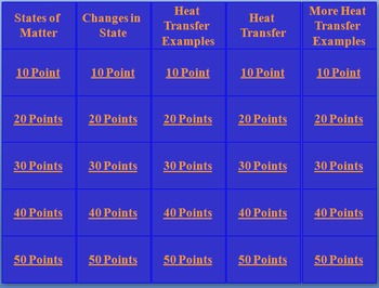 Matter and Energy Jeopardy Game (6th grade)