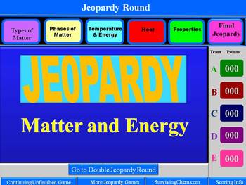 Matter and Energy Review: Interactive 2-Round Jeopardy Game w/Scoreboard