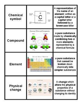 Matter and Energy Vocabulary Card Sort