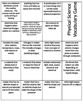 Matter and Energy Vocabulary Game