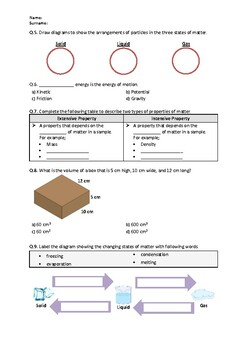 Distance Learning | Matter and Energy - Worksheet