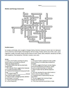 matter and energy crossword by science from murf llc teachers pay teachers. Black Bedroom Furniture Sets. Home Design Ideas