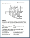 Matter and Energy Crossword Puzzle