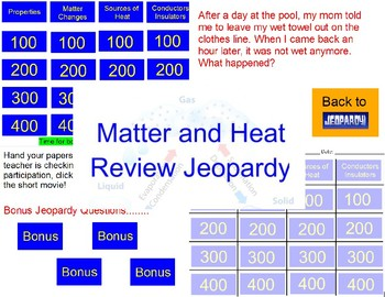 Matter and Heat Review Jeopardy Game