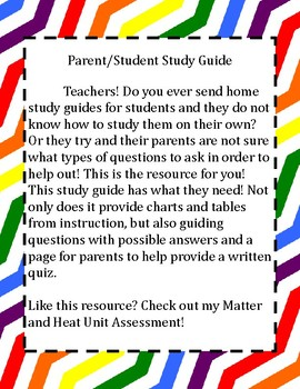 Matter and Heat Study Guide - Parent/Student Guide
