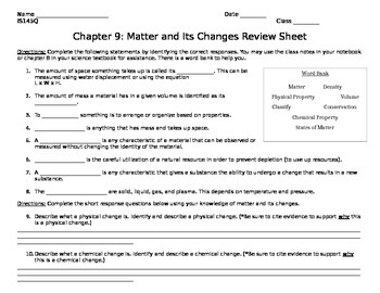 Matter and Its Changes Review Sheet