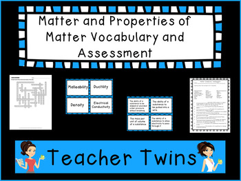 Matter and Properties of Matter Vocabulary and Assessment