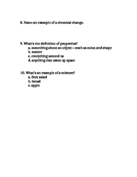 Matter and changes quiz