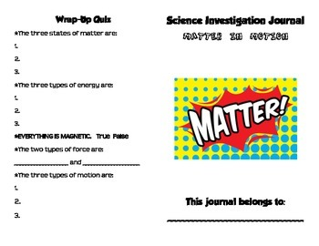 Matter in Motion - Science Investigation Journal