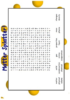 Matter, solids, liquids and gases word search