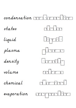 Matter solids liquids and gases words to put into shape boxes