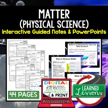 Matter Guided Notes and PowerPoints NGSS, Google and Print
