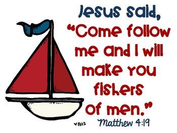 Matthew 4:19 Fishers of Men Nautical Poster