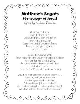 Matthew's Begats lyrics by Andrew Peterson