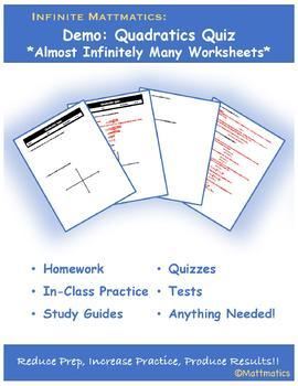 Infinite Mattmatics: Quadratic Quiz Demo-Generate Infinitely Many Worksheets
