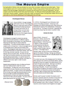 The Maurya Empire Reading Handout & Mini Book Activity - Ancient India